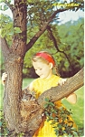 Click here to enlarge image and see more about item p5787: Young Girl With Baby Birds Postcard