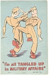 All Tangled Up Military Affairs Comical Linen Postcard p5874