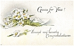 Click here to enlarge image and see more about item p5974: Greetings of Congratulations Vintage Postcard p5974