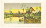 Scenic House and Pond Vintage Postcard p5976