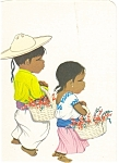 Mexican Little Boy and Girl Postcard