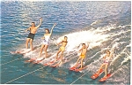 Water Skiing Family Poconos of PA Postcard p6026
