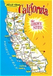 Click here to enlarge image and see more about item p6124: California State Map Postcard p6124