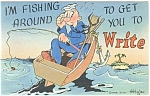 I'm Fishing Around Comical Linen Postcard