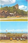 Click here to enlarge image and see more about item p6355: Castle Rock and Souvenir Stand,St Ignace MI,Advert Card
