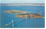 San Francisco Bay Bridge Treasure Island CA Postcard p6486