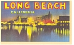 Long Beach CA Harbor at Night Linen Postcard p6548