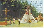 Crystal Cave PA Indian Teepees Postcard p6754