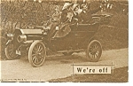 Click here to enlarge image and see more about item p6804: We're Off Postcard Car 1910s