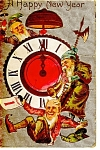 Click here to enlarge image and see more about item p6873: A Happy New Years Gnomes Postcard Divided Back