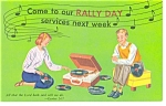 Click here to enlarge image and see more about item p6908: Rally Day Sunday School Postcard p6908