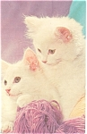 Click here to enlarge image and see more about item p7019: Kittens with Yarn Postcard p7019
