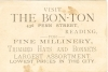 Click to view larger image of The Bon Ton Millinery Victorian Trade Card p7048 (Image2)