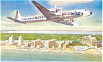 Eastern Airlines Golden Falcon DC-7 Propliner Postcard p7115