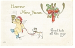Click here to enlarge image and see more about item p7183: Happy New Year Postcard 1915