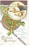 Click here to enlarge image and see more about item p7191: Christmas Greetings Postcard 1912
