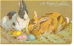 Click here to enlarge image and see more about item p7196: A Happy Easter  Postcard p7196 Rabbits