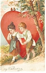 Click here to enlarge image and see more about item p7454: Valentines Postcard Young Lad and Lass p7454 1908