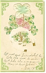 Click here to enlarge image and see more about item p7458: St Patrick's Day Postcard Horseshoe and Shamrocks 1907