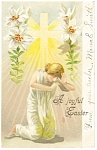 Click here to enlarge image and see more about item p7462: Easter Postcard Radiant Cross and Lillies 1908
