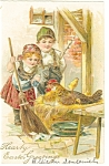 Click here to enlarge image and see more about item p7466: Easter Postcard Children with Chicken on Nest 1907