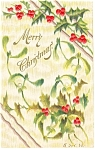 Merry Christmas Postcard Divided Back 1908