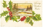 Loving Christmas Wishes Postcard 1906