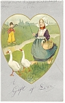Click here to enlarge image and see more about item p7499: Dutch Girl and Geese Postcard Undivided Back