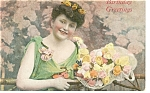 Click here to enlarge image and see more about item p7501: Victorian Girl Birthday Postcard Divided Back
