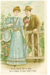 Click here to enlarge image and see more about item p7542: Victorian Couple Valentine Postcard  Ca 1909