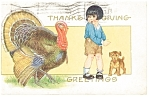 Click here to enlarge image and see more about item p7593: Thanksgiving Greetings Turkey & Boy Postcard