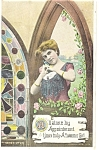 Victorian Girl in Window  Postcard 1909