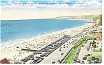 Bathing Beach,Santa Monica, CA, Linen Postcard