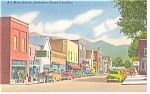 Click here to enlarge image and see more about item p7609: Main Street, Andrews, NC, Linen Postcard Old Cars