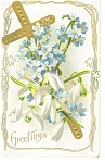 Click here to enlarge image and see more about item p7729: Easter Postcard Cross and Flowers ca 1910