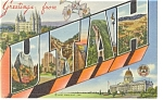 Big Letter Greetings From Utah Linen Postcard p7779