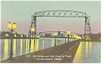 Click here to enlarge image and see more about item p7881: Duluth Harbor MN Lift Bridge Ship Canal Linen Postcard p7881