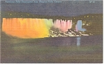 Niagara Falls, NY Illuminated at Night, Linen Postcard