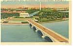 Click here to enlarge image and see more about item p7913: Washington DC Arlington Memorial Bridge Aerial Linen p7913