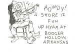 Click here to enlarge image and see more about item p7969: Booger Hollow,AR Fiddle Player Postcard
