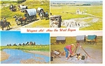 Click here to enlarge image and see more about item p8058: Kansas Covered Wagon Vacations Advert. Postcard