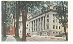 Click here to enlarge image and see more about item p8222: Albany, NY, County Court House Postcard Vintage Car