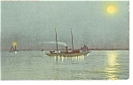 Moonlight in New York Harbor Postcard p8341 1910
