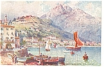 Click here to enlarge image and see more about item p8409: Menton France Port View Tuck Oilette Postcard p8409