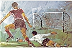 Morris Katz Artwork Pan Am Olympics Soccer Postcard p8556