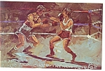 Morris Katz Artwork Pan Am Olympics Boxing Postcard p8585