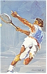 Morris Katz Artwork Pan Am Olympics Tennis Postcard p8591