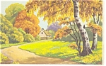 Country Lane Artwork Postcard