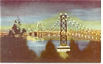 San Francisco Oakland Bay Bridge at Night Postcard