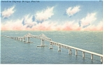 Old Sunshine Skyway Bridge,FL Linen Postcard p9004